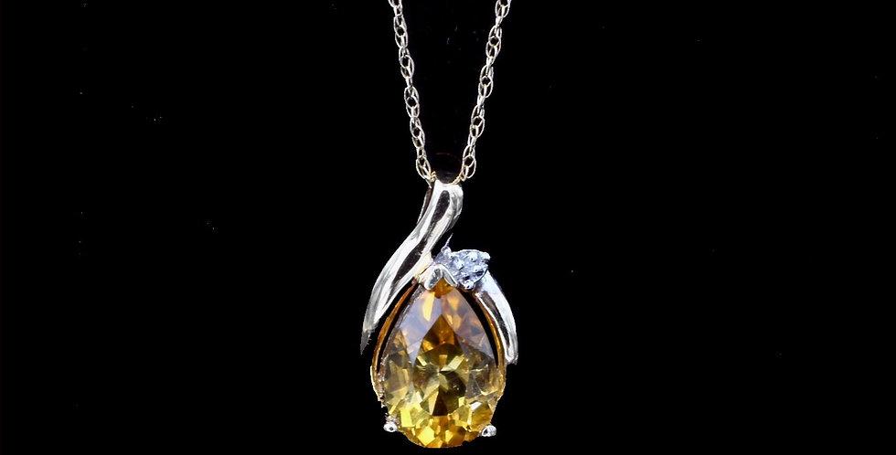 14k Citrine & Diamond Necklace
