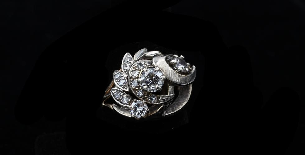 14K White and Yellow Gold Vintage Diamond Ring