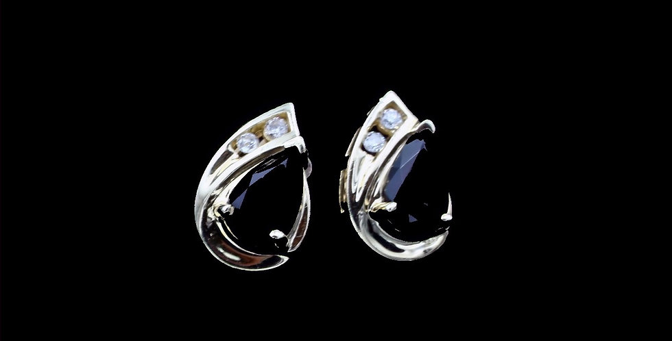 14K Yellow Gold Onyx & Diamond Earrings