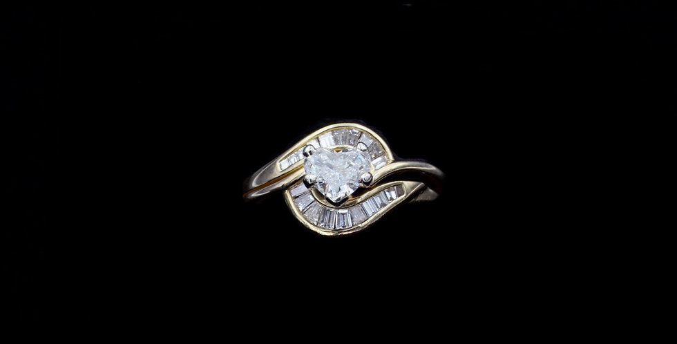 14K Yellow Gold .43ct Heart & .24ct Diamond Ring