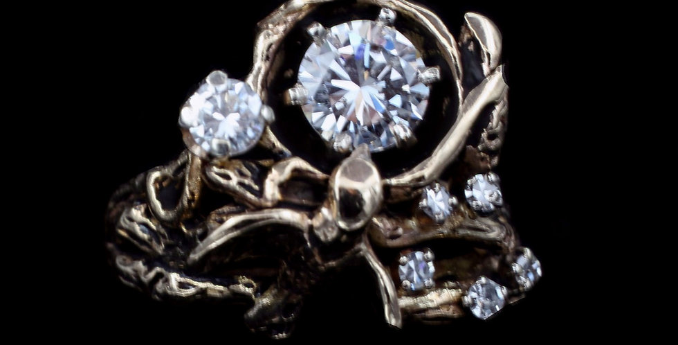 "14K Vintage ""Bird's Nest"" Design Diamond Ring"