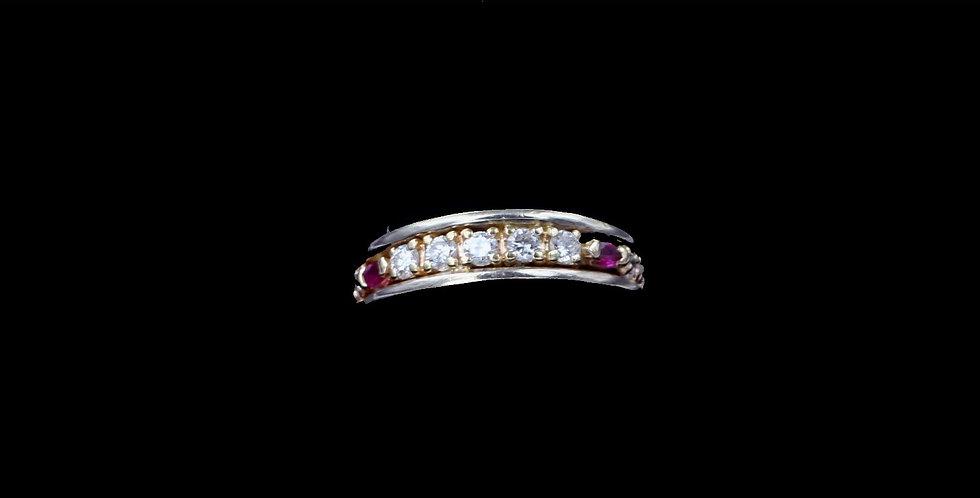 14K Yellow Gold .50 Carat Diamond & .10 Carat Ruby Ring