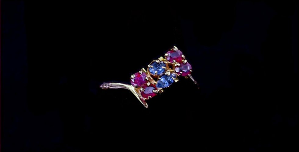 18K Vintage Sapphire  Ruby Ring