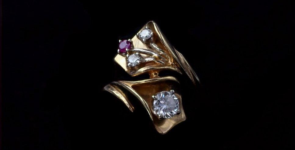 14K .45 Carat Diamond and Ruby Ring