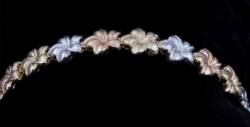 14K Tri-gold Hawaiian Plumeria Bracelet