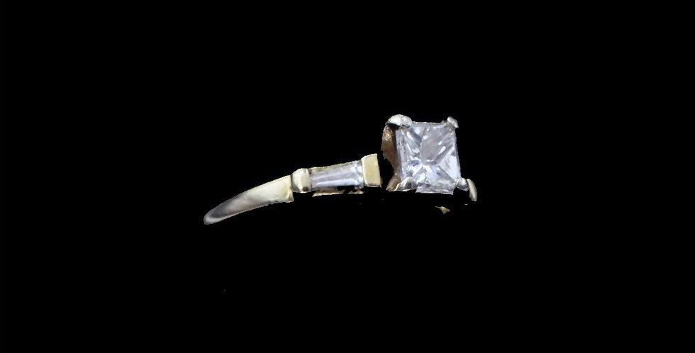 14K Yellow Gold .75 Carat Princess Cut Diamond Ring