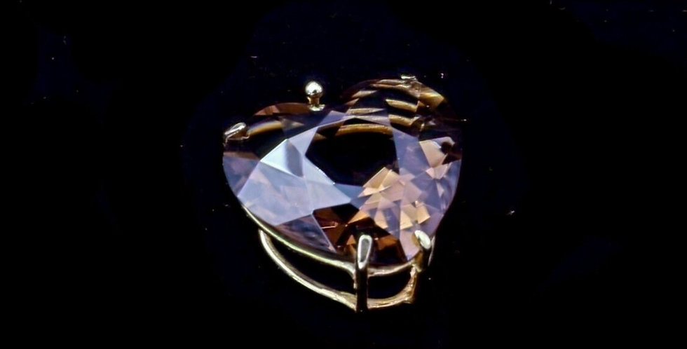 14k Yellow Gold Smoky Quartz Heart Pendant