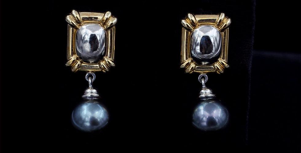 18K Custom Made Tahitian Pearl Earrings
