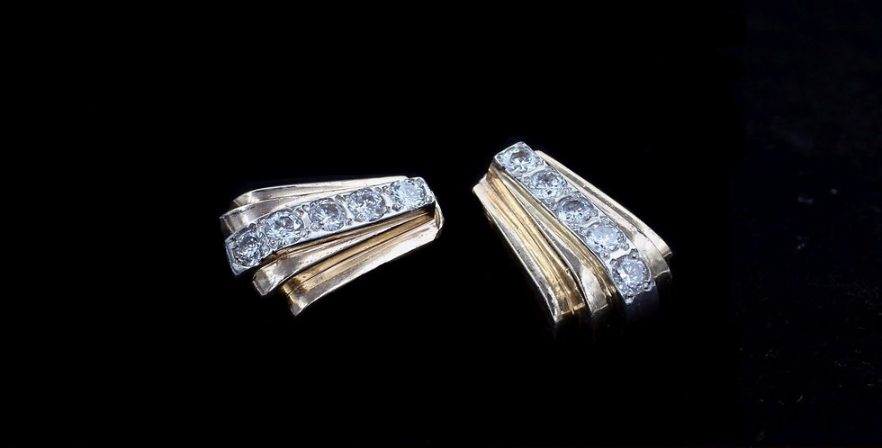 14K Yellow Gold 1.00 Carat Total Weight Diamond Earrings