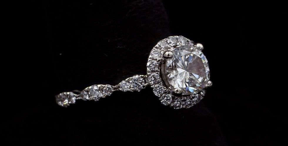 14K White Gold 1.00 Carat & .40 Carat Diamond Ring