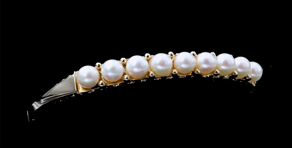 14K Yellow Gold Pearl Bangle Bracelet