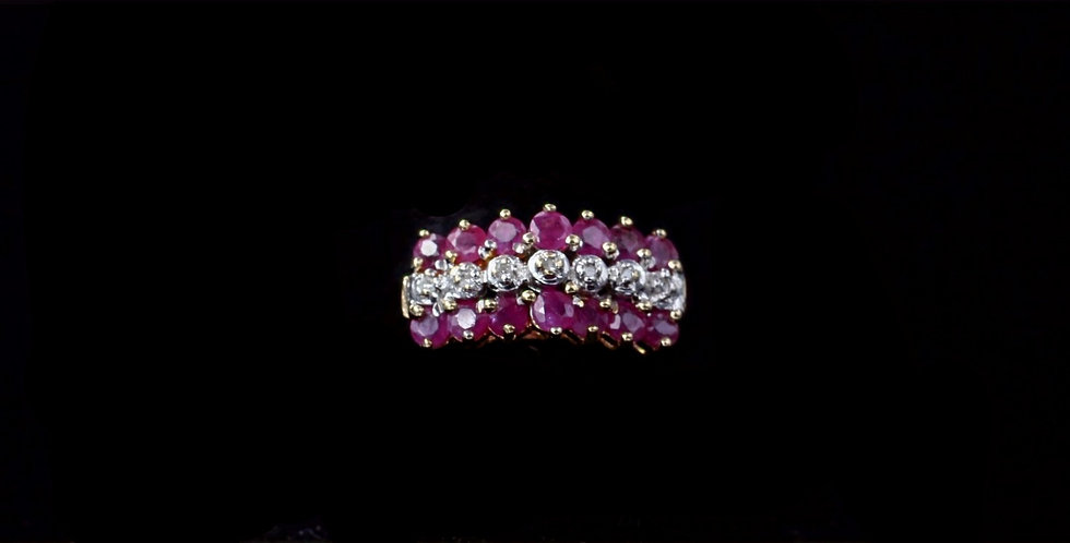 14K Yellow Gold Ruby and Diamond Band Ring