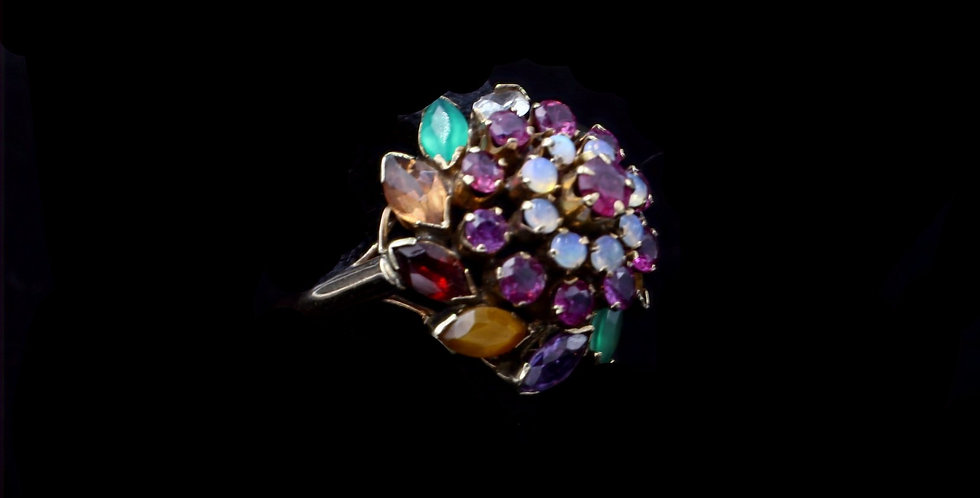 14K Yellow Gold Opal, Ruby, and More Princess Ring