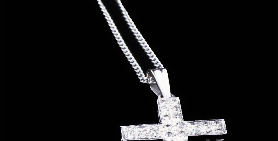 14K White Gold 1.00ct Total Weight Diamond Cross Necklace