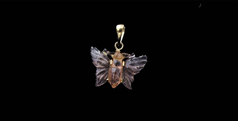 18K Yellow Gold Carved Tourmaline Butterfly Pendant