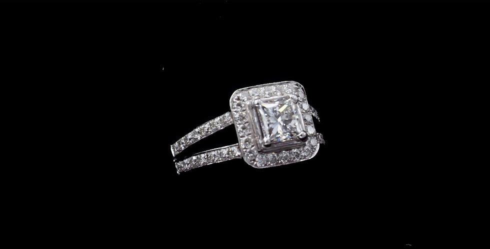 18K White Gold .72 Carat Princess Cut Diamonds GIA Certificate VS 1  E