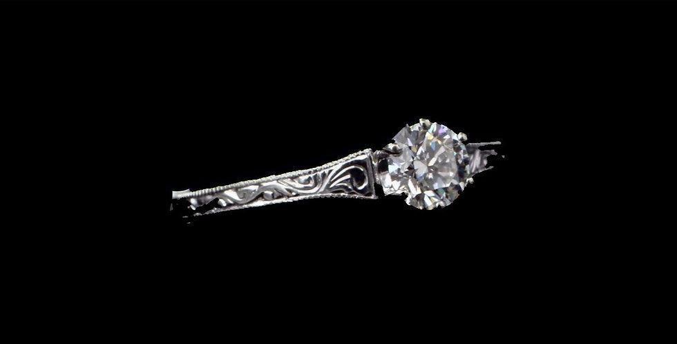 18K White Gold .45 Carat IF/F Diamond Ring
