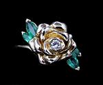 14K  Vintage Diamond & Emerald Ring