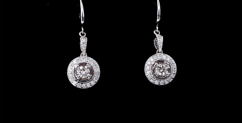 14K White Gold 1.20 Carat Total Weight Diamond Earrings
