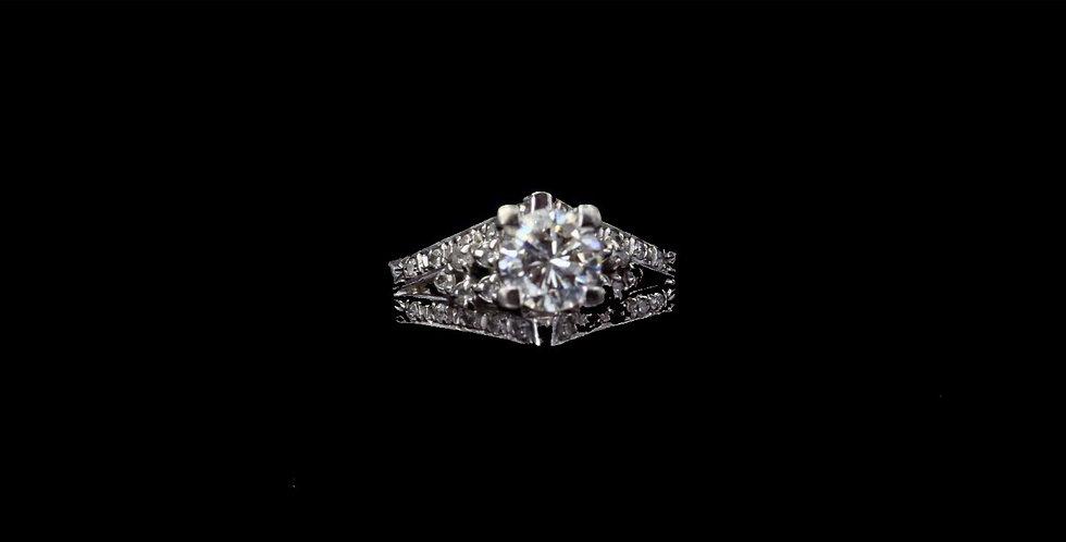 18K White Gold .62 Carat & .25 Carat Diamond Ring