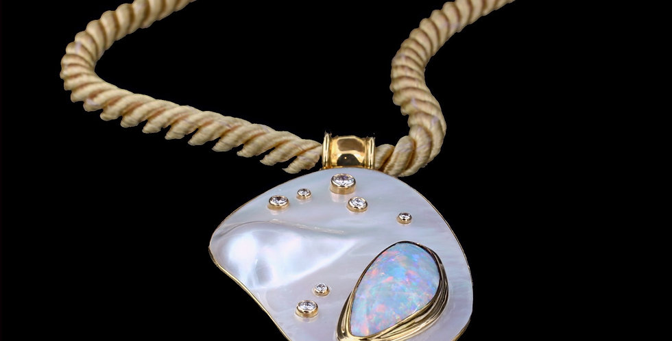 14K Mother of Pearl, Opal, and Diamond Necklace