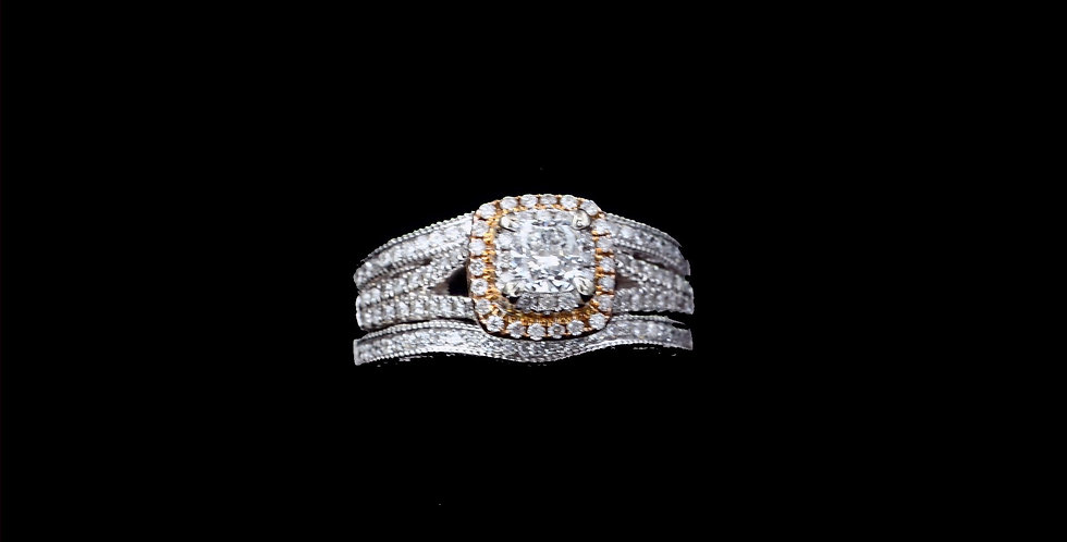 14K White & Rose Gold .37 Carat Cushion Cut & 1.02 Carat Diamond Ring