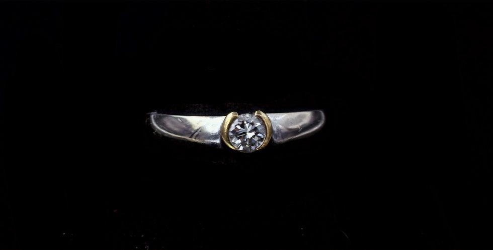 14K White and Yellow gold .25 Carat Diamond Ring
