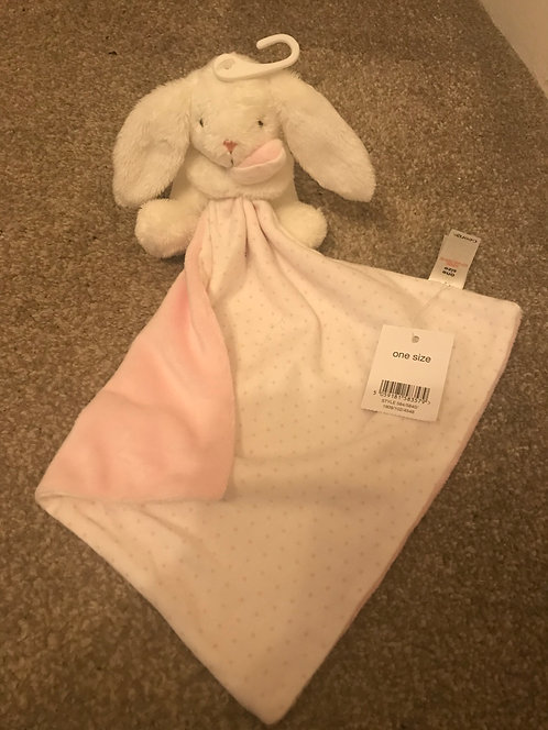 NEW WITH TAGS - bunny comforter holding pink and white soft blanket