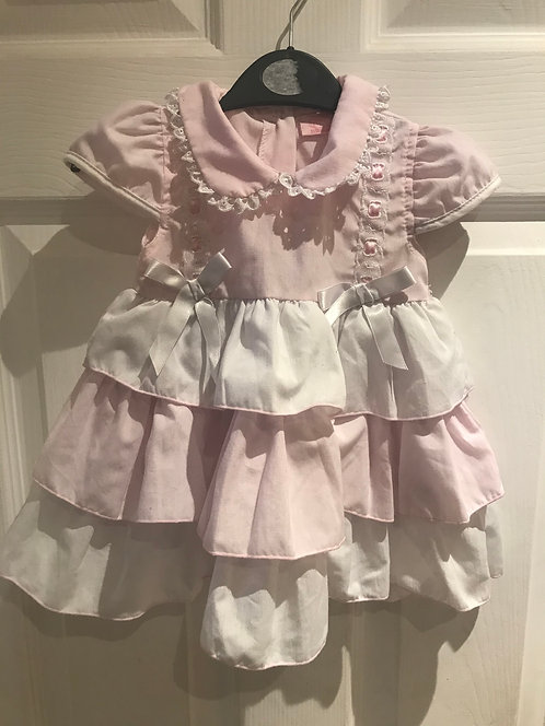 9-12 months - pink & white dress