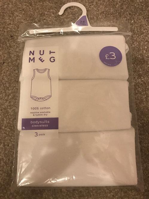 BRAND NEW- 3/6 months white sleeveless bodysuits
