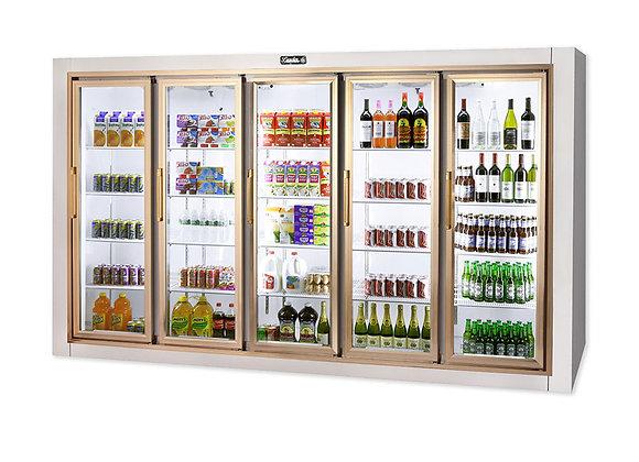 """129"""" Remote Five Door Merchandiser Refrigerator, Stainless Steel"""
