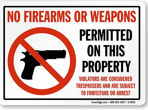 No Handguns Allowed Sign