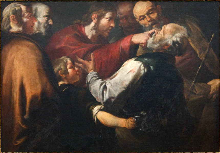Christ Healing the Blind Man, by Gioacchino Assereto (1600-1649), oil on canvas. This file is licensed under the Creative Commons Attribution-Share Alike 2.0 Generic license. https://commons.wikimedia.org/wiki/File:WLA_cma_Christ_Healing_the_Blind_Man_c_1640.jpg Attribution: Moira Burke