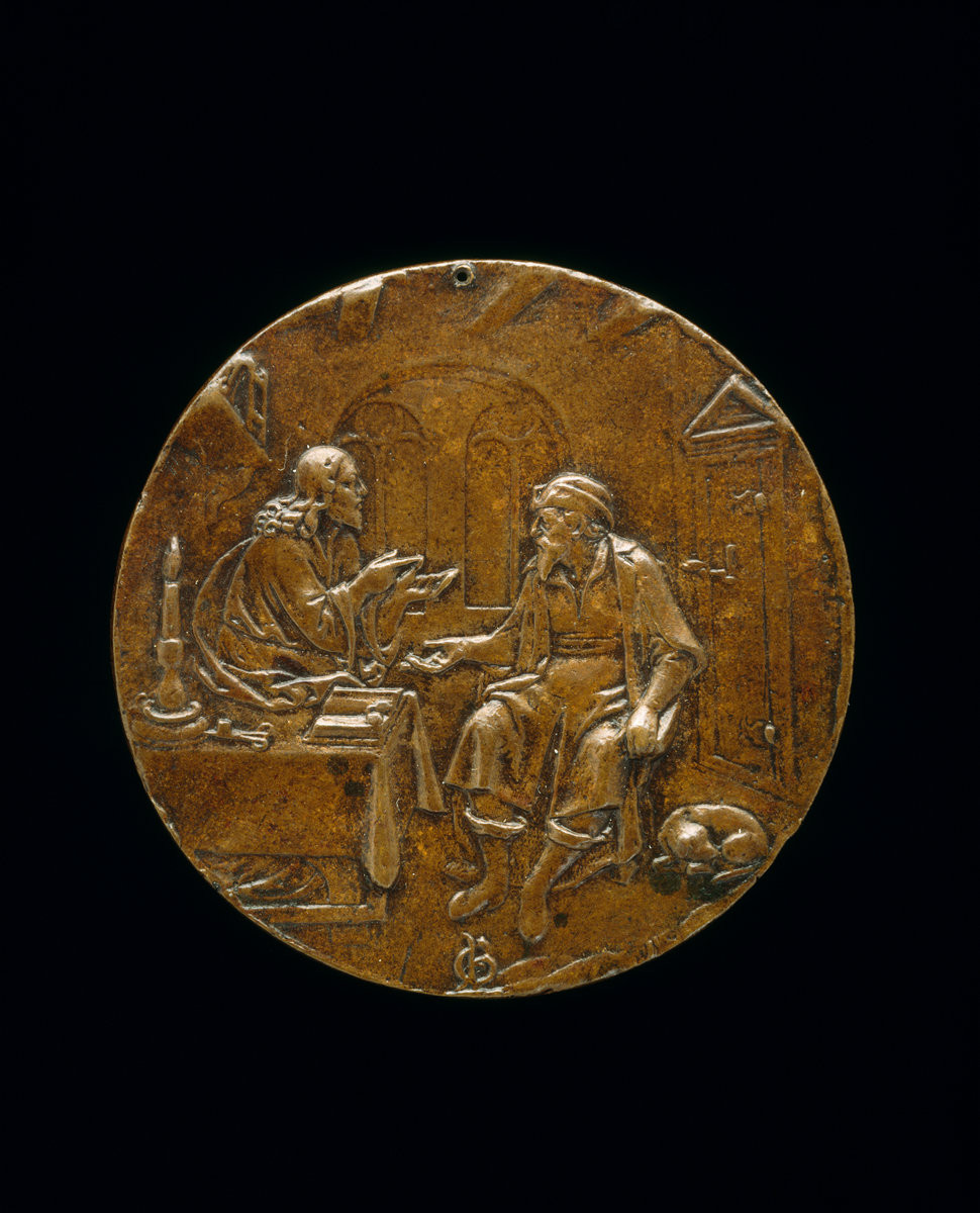 Bronze medallion of Christ and Nicodemus, by Master P.G. c. 1550, on display at the National Gallery of Art.
