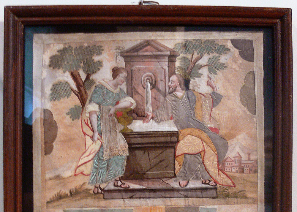 Christ and the Samaritan Woman, Needlework from the first half of the 18th Century; from Art in the Christian Tradition, a project of the Vanderbilt Divinity Library, Nashville, TN. diglib.library.vanderbilt.edu [retrieved March 16, 2017]. Original source: commons.wikimedia.org.