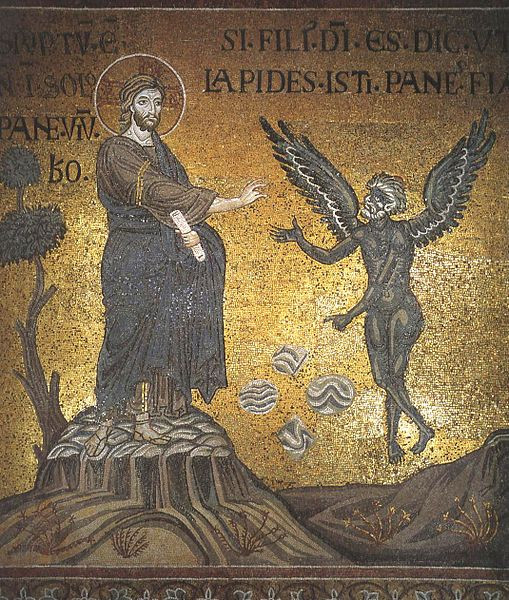 Christ's temptation - mosaic in Monreale Cathedra, By Sibeaster (Own work) [Public domain], via Wikimedia Commons from Wikimedia Commons, https://commons.wikimedia.org/wiki/File%3AChrist's_temptation_(Monreale).jpg