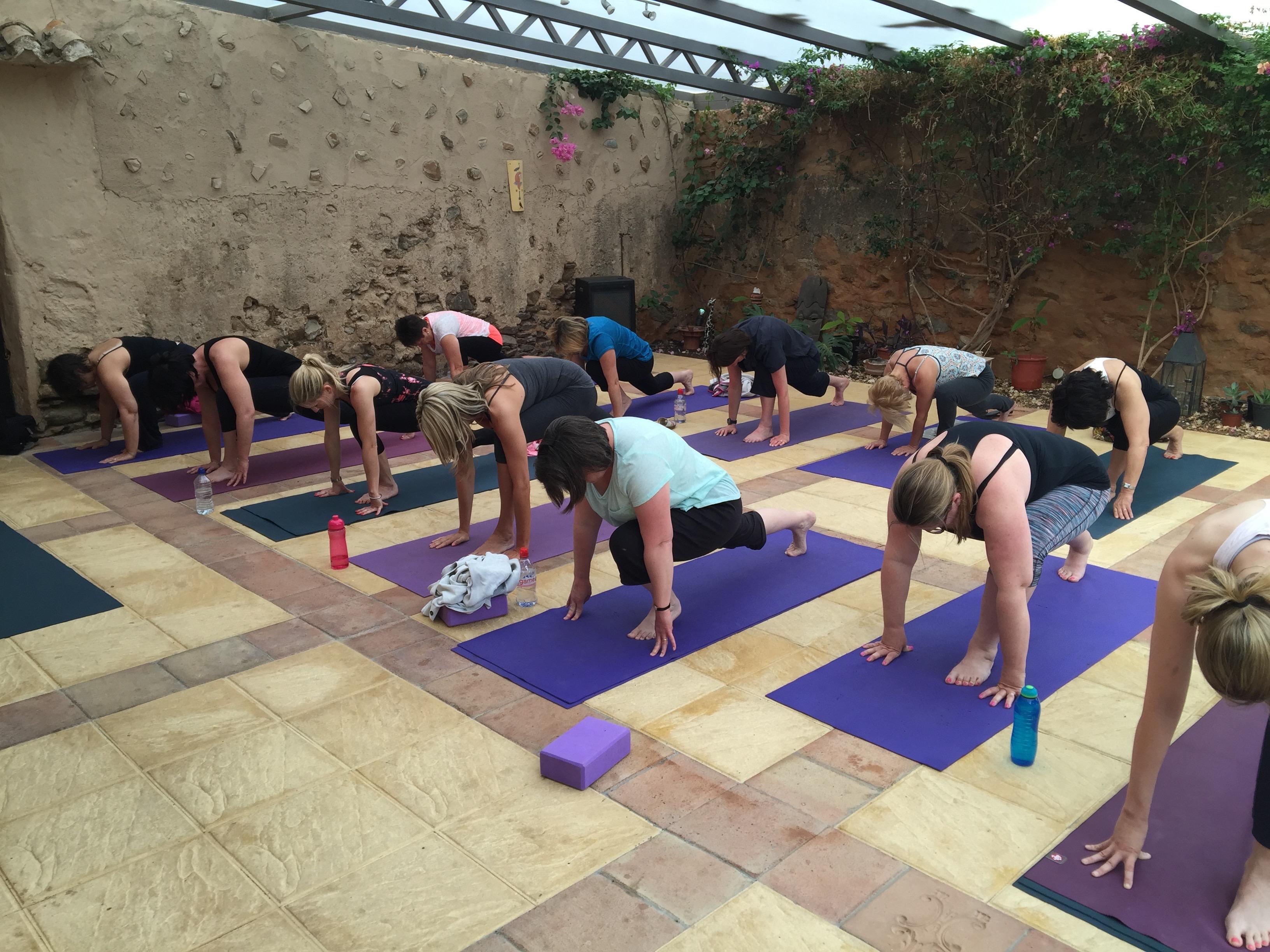 Morning yoga in garden studio