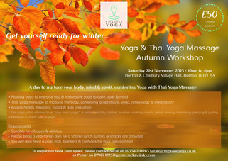 Yoga and Thai Yoga Massage Autumn Workshop