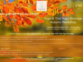 Yoga and Thai Yoga Massage Autumn Workshop