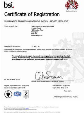 SelectaDNA BSI Certificate