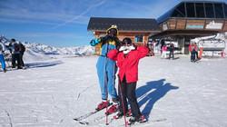 Maria with a skiing minion!