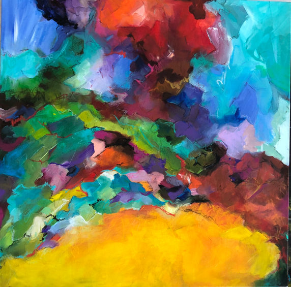 A sea of colors on canvas 70 x 70 cm