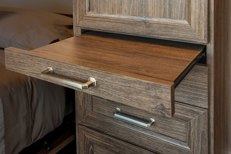 bed with built in side tables