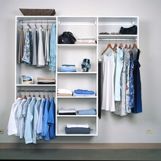 simple white reach-in closet system