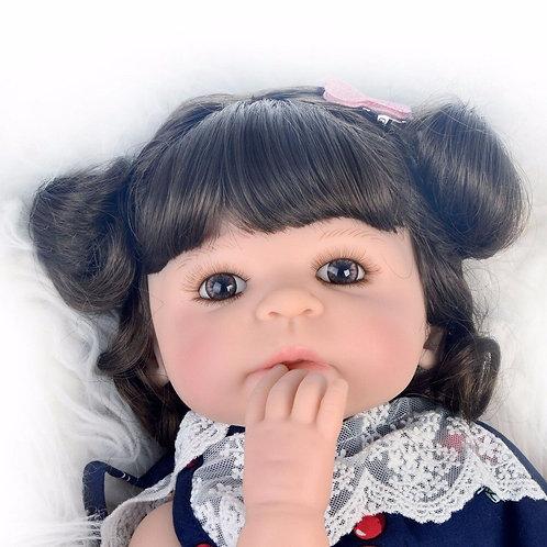 boneca reborn Toda em silicone cacheados roupa linda