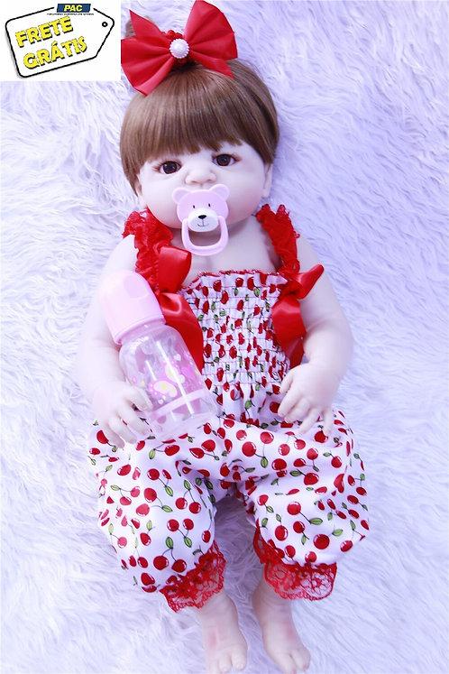 Boneca Real Reborn Lacinho Vermelho Silicone