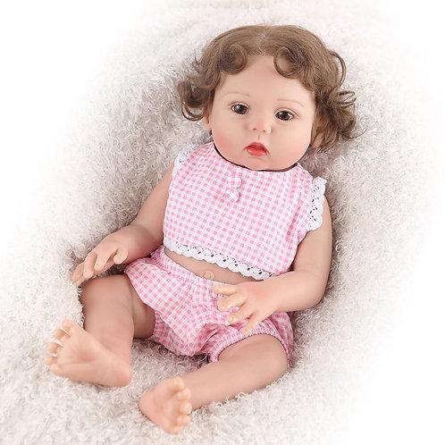 bebe reborn menina 100% silicone 43 cm cabelo implantado