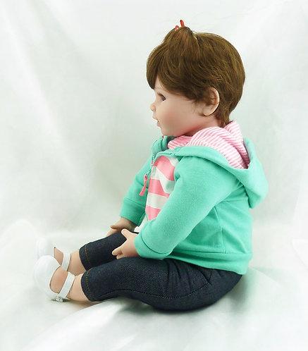Boneca Reborn Bebe Realista Perfeita 55 cm Verde