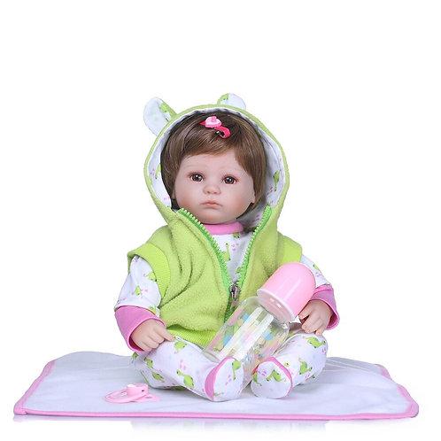 bebe real reborn casaco verde