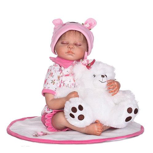 bebe reborn dormindo 50 cm rosa com touca